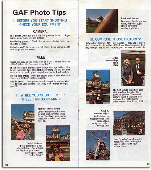 GAF Walt Disney World photo tips, 1974