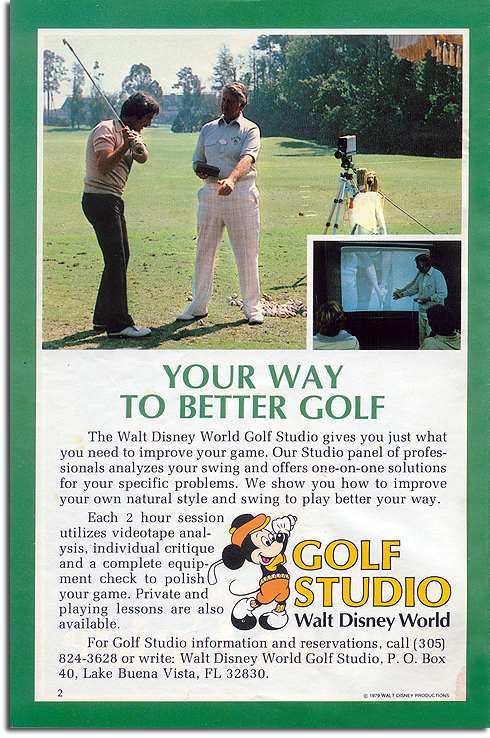 Ad for Walt Disney World Golf Studio, 1979