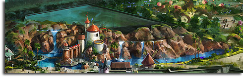 Closeup of the Little Mermaid show building from the revised rendering of Walt Disney World's Fantasyland expansion
