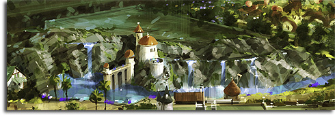 Closeup of the Little Mermaid show building from the original rendering of Walt Disney World's Fantasyland expansion