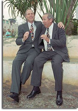 Michael Eisner and Roy Disney at Animal Kingdom's dedication ceremony, April 21, 1998