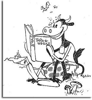 Clarabelle Cow reads Elinor Glyn's Three Weeks