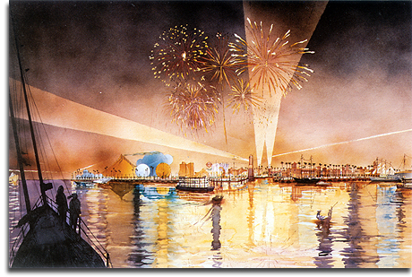 Port Disney Rendering, Nighttime, 1990 (small)