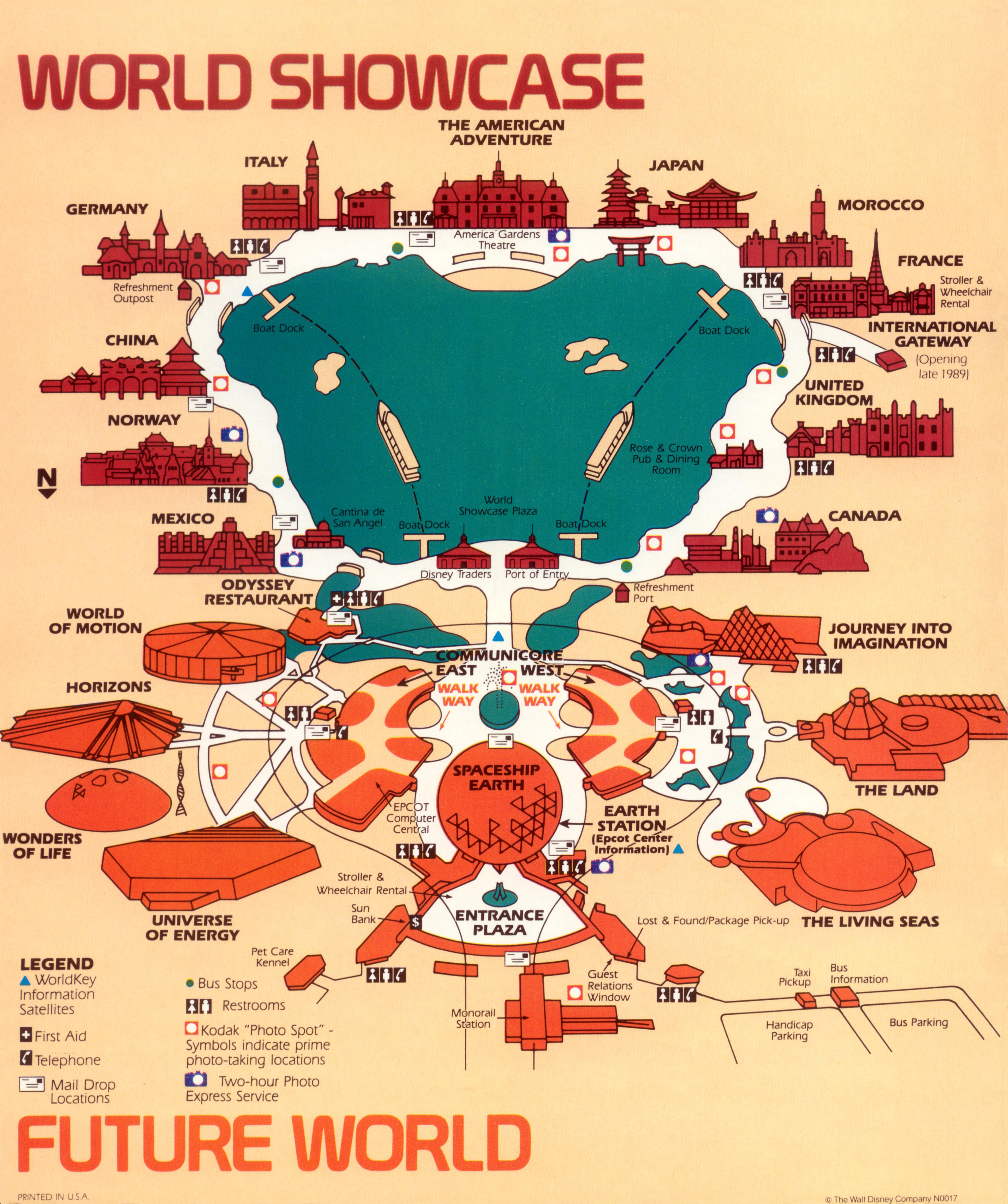 Epcot Center Map Maps! EPCOT Center, 1989 « Progress City, U.S.A.