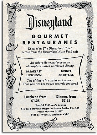 Ad for Disneyland's Gourmet Restaurants, 1957