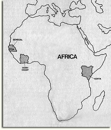 """Map of Africa shows possible participants in the new African Pavilion"""